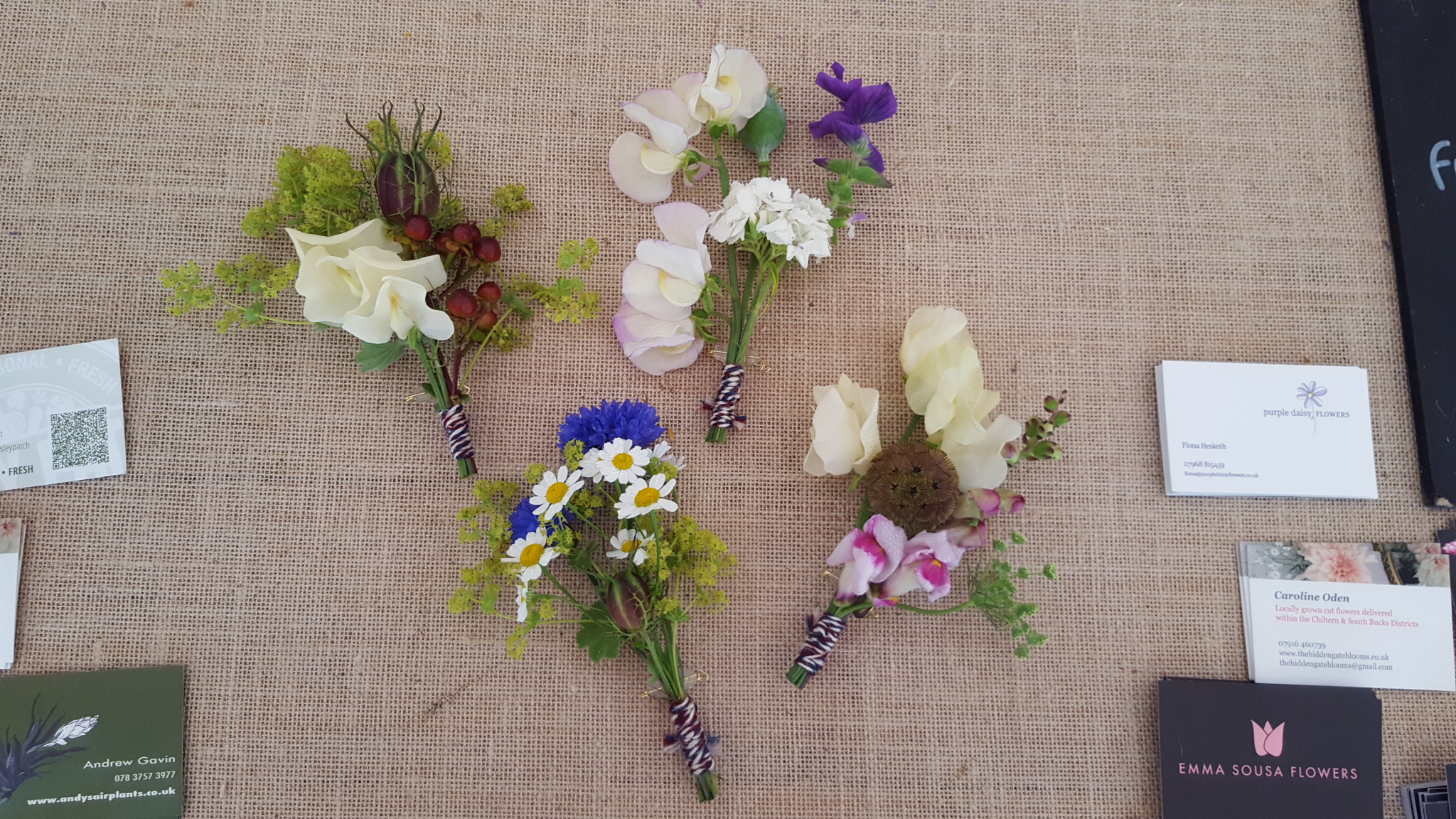 Buttonholes on the day